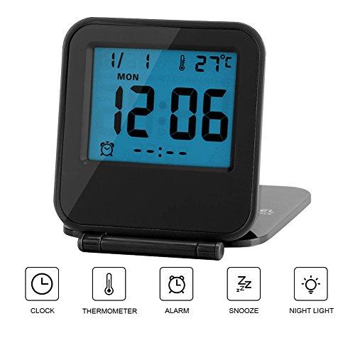 Reloj de Alarma Plegable Portátil Ultra Delgado/ Despertador Digital con Temperatura Calendario Fecha...