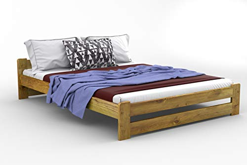 Massivholz-Bett wahlweise in Kiefer, Eiche, Erle oder Walnuss, Modell Niva 120 x 190 cm Quercia