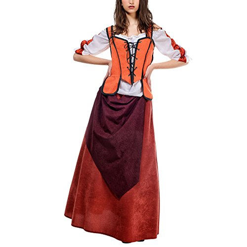 Wirtin Kostüm Frau (Mittelalter Wirtin Kostüm Damen orange weiß historisches Gewand für Feste u Karneval -)