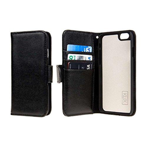 """EMPIRE KLIX Klutch Designer Wallet für Apple iPhone 6 4.7"""" - Vintage Flower Pop! Black, KLIX Genuine Leather"""