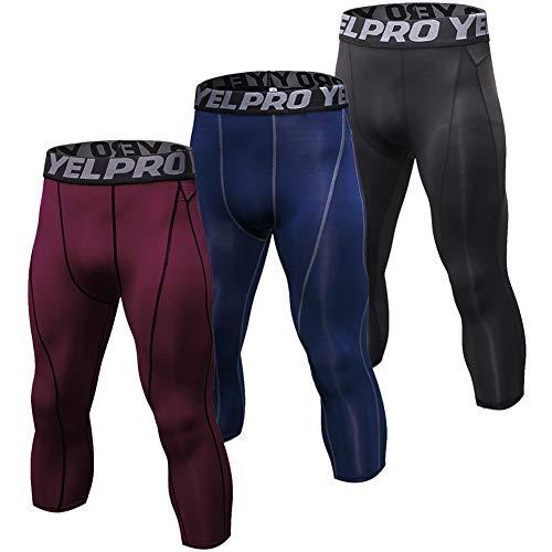 Shengwan 3 Pezzi Pantaloni da Corsa Uomo Sportivi Leggings Compressione 3/4 Allenamento Palestra Tights Vino Rosso e Navy e Nero M