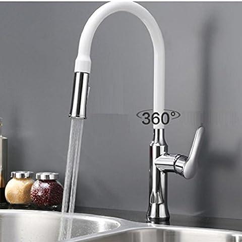 Modylee Nuovo arrivo progettazione di brevetto alta qualità arco alto collo d'oca lavello Miscelatore rubinetto estrarre rubinetto della cucina bianca