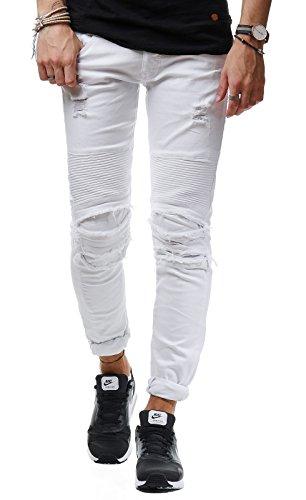 New Stone Herren Jeans Hose Denim Slim Fit Zerrissen Gerippt Verwaschen Schwarz ZS665 Weiß