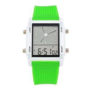 Souarts Grün Silikon Armband LED Sportuhr Armbanduhr Digitaluhr Analog Armreif Uhr mit Batterie