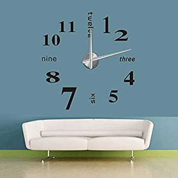 YESURPRISE Modern Mute DIY Large Wall Clock 3D Sticker Home Office Decor  Black Gift Part 73