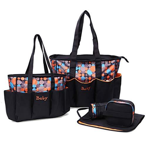 Dot Pattern Mommy Tote Reisetaschen Set 5 Stück Windelhandtasche mit Wickelauflage Flaschentasche - Orange ()