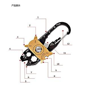 CIOLER TravelFun - 20 en 1 multi Herramientas multifunción de bolsillo EDC, martillo de acero inoxidable, destornillador, llave, alicates, abridor, llavero.