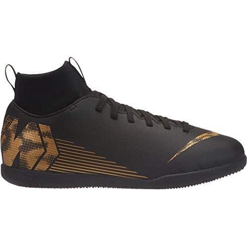 Nike Unisex-Kinder Superflyx 6 Club IC Fußballschuhe Schwarz (Black/MTLC Vivid Gold 077) 36 EU