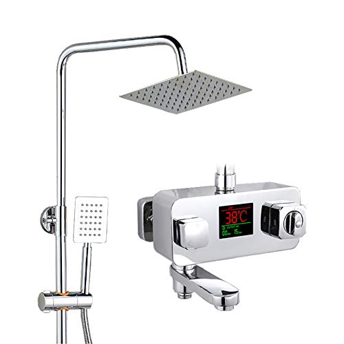 Preisvergleich Produktbild GAOJUAN Dusche Set Verdeckte Thermostat Dusche Edelstahl Top Spray Wasserhahn Booster Dusche Sicherheit Anti-Verbrühung Keramik Spool Dusche