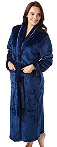 Ladies Flannel Fleece Dressing Gown Robe Satin Trim Full Length