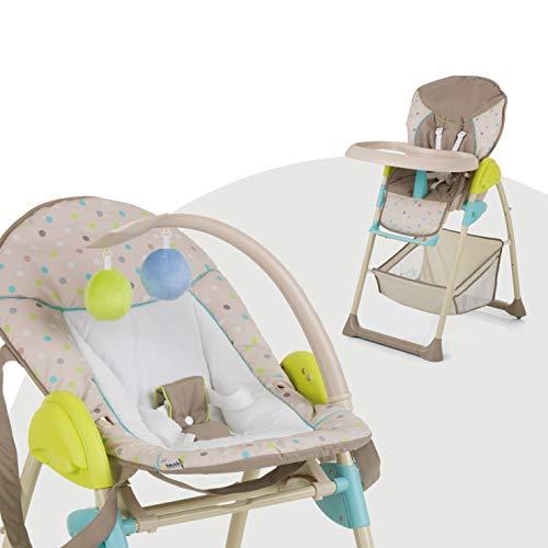 Hauck Sit'n Relax Newborn Set - Neugeborenen Aufsatz und Kinderhochstuhl ab Geburt, mit Liegefunktion / inkl. Spielbogen, Tisch, Rollen / höhenverstellbar, mitwachsend, klappbar, Multi Dots Sand
