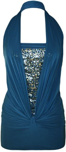Mode Mesdames Sequin Halter Neck Ruffled Boob Tube Femmes Stretch Sans Manches Parti Club Wear Top Tailles 36-46 Royal Blue