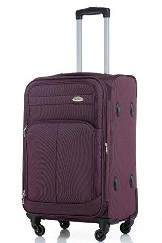 BEIBYE 4 Rollen Reisekoffer 3tlg.Stoffkoffer Gepäck Koffer Trolley Set-XL-L-M in 7 Farben (Violett, L-Mittlerer Koffer-64cm)