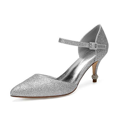 AIMISHOES Pailletten Spitz Lady Crystal High Heels Braut Hochzeit Abendkleid Pumps Knöchelriemen,Silber,42 Crystal High Heel