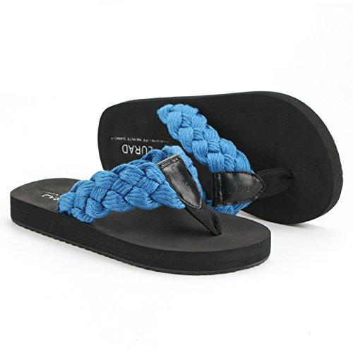 Les tongs hommes, pantoufles en cuir de la mode dété, résistant à lusure des sandales antidérapantes, chaussures de plage respirant Corduroy blue