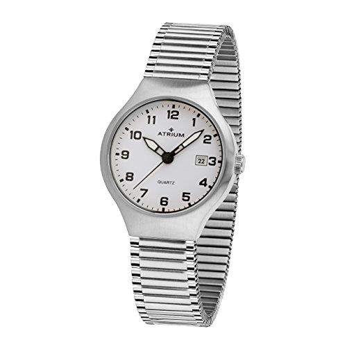 Atrium Mujer Reloj Cordón con fecha y manecillas luminiscentes. analógico de cuarzo Acero inoxidable mate y pulido 5Bar Flex Cinta A27–50