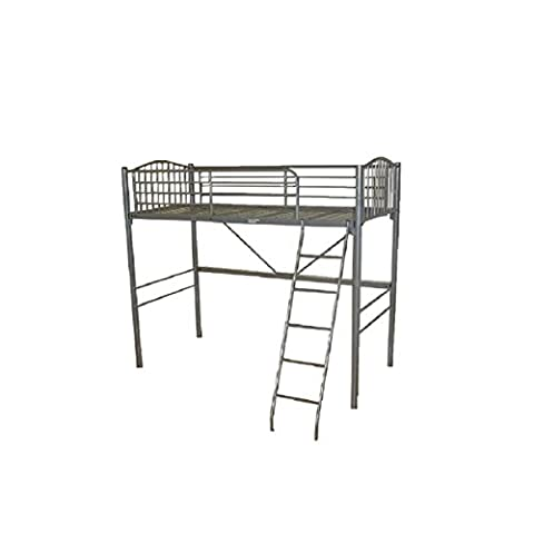 AJ Silver Metal High Sleeper Loft Bunk Bed Frame Very Strong Mesh Base Kids Adults