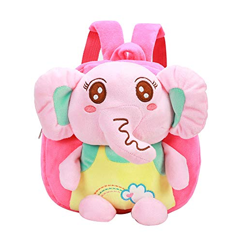 jEZmiSy Rucksack, Kinder Reißverschluss Kindergarten Kinder Schultasche Cartoon Plüsch Elefant, Tägliches Tragen, aus dem Lager Pink