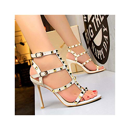 Retro Rivets Open Toe Women Sandals 2019 New Summer Patent Leather Fashion Double Buckle Women's High Heels Shoes Dress Sandals White 4.5