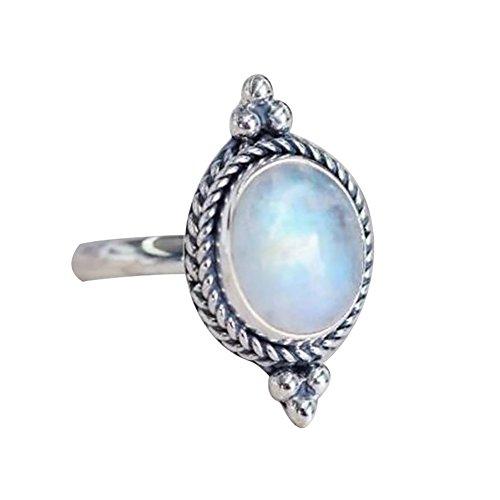 Anillo de dedo para mujer, piedra lunar antigua, piedras artificiales, joyería de fiesta de noche, plata US 9