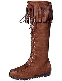 LuckyGirls Botas Muslo de Caña Alta para Mujer Zapatos con Cordones Flecos 32247f4e2bb9e