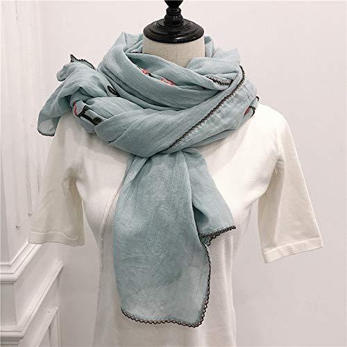 Hmeili Schals Stickerei Frauen Schal Vintage Baumwolle Schals Und Wraps Dame Floral Bandana Weibliche Hijab Winter Schals