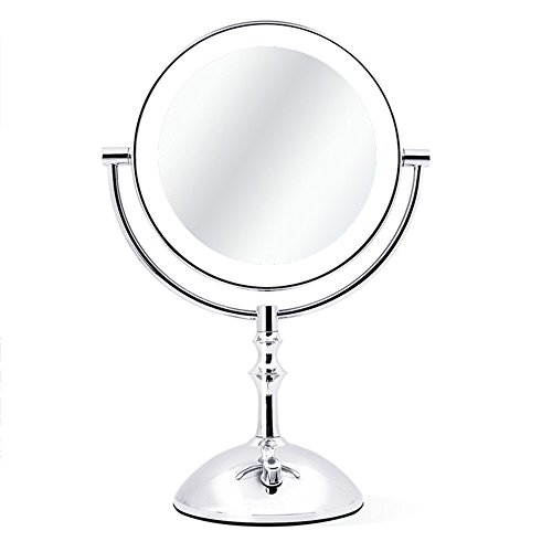 Yuan Spiegel Metallic Silber 3x / 5x intelligente LED Licht Knopf stufenlose Dimmen 360 ° rotierenden Welle doppelseitige Spiegel Anti-Rutsch-Base geeignet für alle Gelegenheiten Prinzessin Spiegel (A