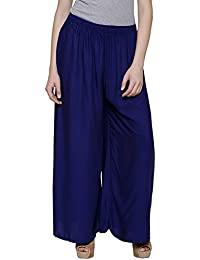 Stylewhile Royal Blue Rayon Full Length Free Size Palazzo Pant For Women
