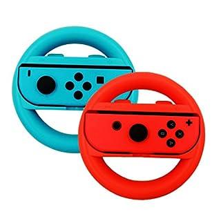 Nintendo Switch Steering Wheel Controller, Auoker Joy-Con Wheel for Nintendo Switch(2 Pack), Blue and Red