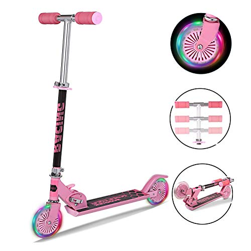 fiugsed Scooter Kinder Roller Tretroller Cityroller Kick Scooter Klappbar Mit Led Big Wheel Kugellager ABEC 7,Tragkraft 110 Lb