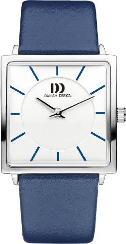 Danish Design Women's Quartz Watch with White Dial Analogue Display and Blue Leather Strap DZ120298