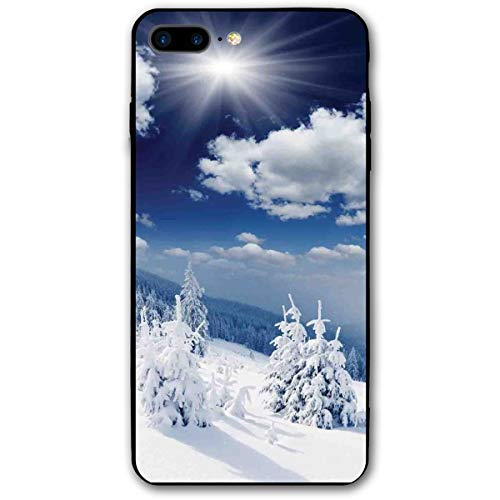 ZZHOO Compatible with iPhone 7/8 Plus Case, Winter Landscape On Hills with Snowy Trees and Fluffy Clouds Art Image,Rubber Anti-Scratch Shock Absorption Protective Phone Cover