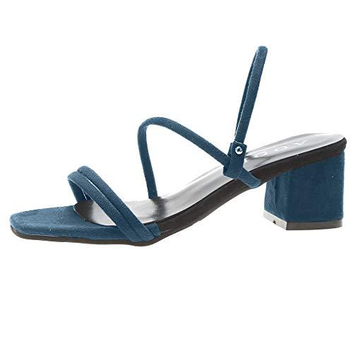 Sandalen Damen,ABsoar Strand Gummiband Sandalen Frauen Peep Toe Breathable Square Heels Schuhe Casual Flip Flop Hausschuhe Strand Outdoor Sandaletten (Blau, 38)