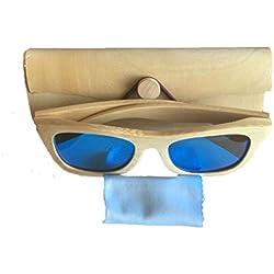 Coface Moda Vintage madera al aire libre gafas de sol UV400 Gafas de sol unisex de los vidrios azules