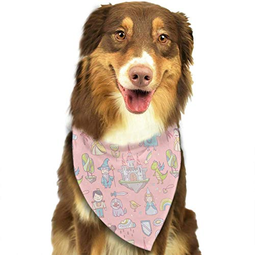 Wfispiy Feenhafte Schloss-Drache-Muster-weiche Baumwollklassische Tiere Bandana-Haustier-Hundekatze-Dreieck-Lätzchen Dublin Slip