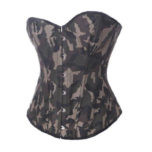 sage Camouflage Vollbrust Stäbchen Korsett Korsagen EUR(36-38) L (Ein Menschliches Kostüm Band)