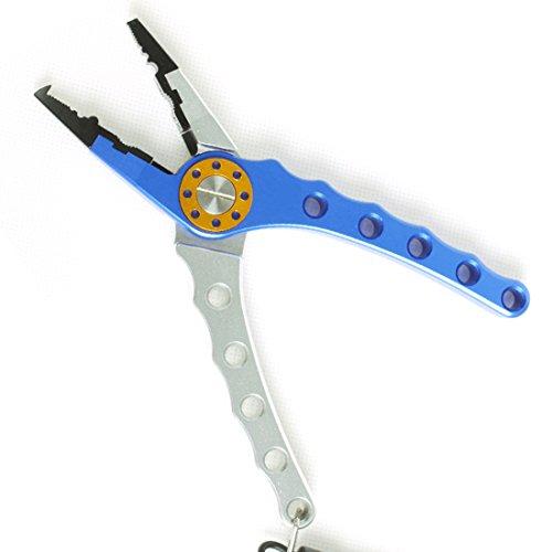 Andux Deluxe Aluminum Diagonal Angeln Zangen mit Tasche Fliegenfischen Zubehör blau/silber F-DYQ