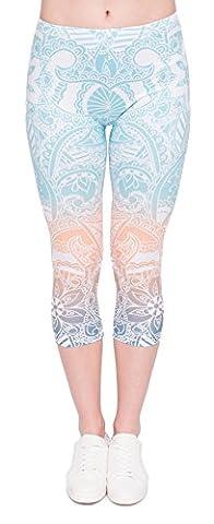 DD.UP Damen Strumpfhose Print 3/4 länge Yoga Leggings Workout Fitness Running Sport Pants
