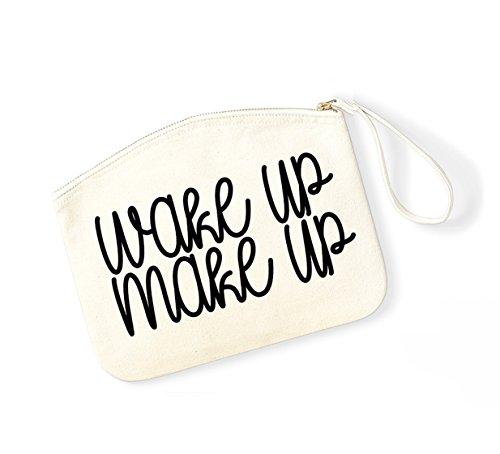 Wake Up, Make Up - Fun Slogan, Make Up Pouch, Accessory Organiser Natural/Black
