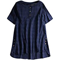 Luckycat Mujer Camiseta T-Shirt Mini Vestido Verano Encaje Dobladillo Túnica Tops Estival de Manga Corta Casual Ropa Tamaño Grande con Botón Lino