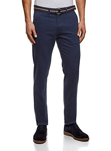 oodji Ultra Uomo Pantaloni Chino in Cotone, Blu, IT 44 / EU 40 (M)