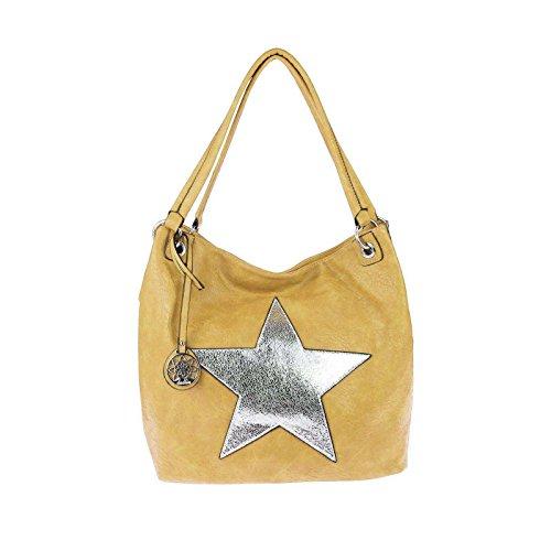ital-design Damen Stern Tasche Shopper Henkeltasche Handtasche Schultertasche Umhängetasche (Gelb) (Gelbe Designer-handtasche)