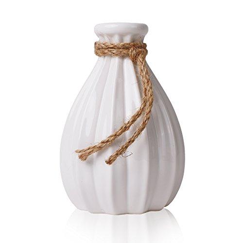 Teresa's Collections Vasi di Fiori in Ceramica, Vaso Decorativo Moderno Fatto a Mano Bianco di 21 cm con Corda di Canapa per Soggiorno, Cucina, Tavolo, casa