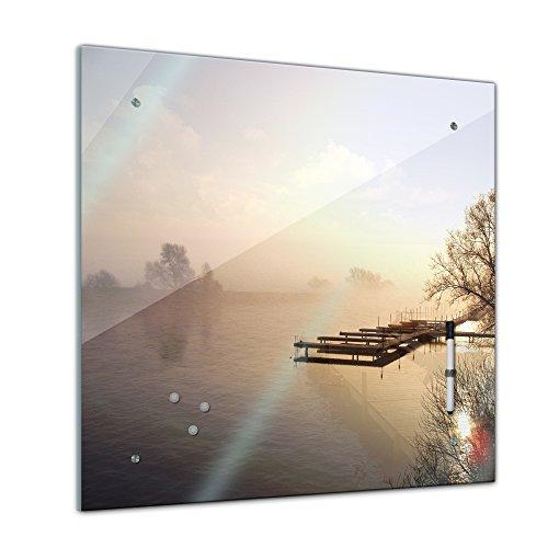 Bilderdepot24 Memoboard 40 x 40 cm, Landschaft - Steg im Nebel - Pinnwand - Landschaftsmotiv - Natur - See - Wasser - Ufer - Bäume - Ausblick - Küche - Glasbild - Handmade -