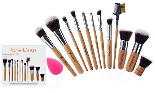 EmaxDesign Make up Brushes 12pcs Bamboo Brush Set & 1pcs Beauty Sponge Blender