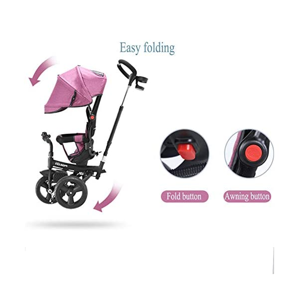 GSDZSY - 4 In 1 Kids Tricycle 3 Wheel Bike Baby Stroller, Foldable With Removable Push Handle Bar, Non-inflatable Rubber Wheel,Adjustable Awning, 1-5 Years,A GSDZSY ❀ Material: high carbon steel + ABS + rubber wheel (non-inflated) ❀ Features: Tricycle can be folded, push rod can be adjusted height, suitable for people of different heights; seat can be adjusted, parasol can be adjusted, suitable for different weather, rear wheel with brake ❀ Performance: high carbon steel frame, strong and strong bearing capacity; rubber wheel anti-skid and wear-resistant, suitable for all kinds of road conditions, good shock absorption, seat with breathable fabric, baby ride more comfortable 7