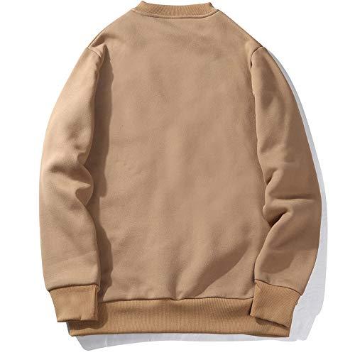 BaZhaHei Herren Langarmshirt Herren Rundhalsausschnitt Einfarbig Lose Tasche Warmes Sweatshirt Pullover Tops
