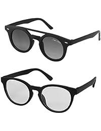 Silver Kartz Clear Lens & Black Dark Wayfarer Combo Sunglasses