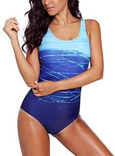 ZIYYOOHY Damen Badeanzüge Einteiler Racer-Back Rückenfreie Figurformend Schlankheits Raffung Badeanzug (Blau, 38 / M)