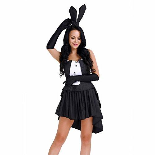 iiniim Damen Cosplay Kleid Bunny Halloween Kostüm Kleid Dessous Babydolls Nachtkleid Gogo Clubwear S-XL Schwarz M (Cocktail Bunny Halloween Kostüme)